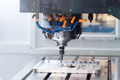Arbetsområde av den moderna CNC-malningmaskinen industriell abstrakt bakgrund Royaltyfri Fotografi