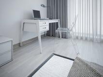 Arbetsområde i minimalist sovrum Fotografering för Bildbyråer