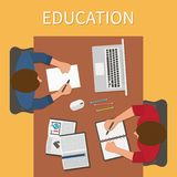 arbetsplats Ändlös utbildning Utbildning och direktanslutet stock illustrationer