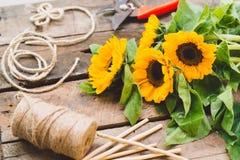 Arbetsplats av blomsterhandlaren Arkivfoton