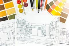 Arbetsplats av en formgivare Arkivbilder