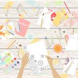 Arbetsplats av konstnären, sikt från över vektor illustrationer