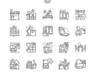 Arbetsplats Brunn-tillverkad linje raster 2x för symboler 30 för perfekt vektor för PIXEL tunn för rengöringsdukdiagram och Apps stock illustrationer