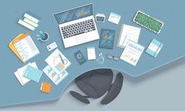 Arbetsplats för affärskontor med tabellen, fåtölj, kontorstillförsel, anteckningsbok, bärbar dator, dokument Diagram diagram på e royaltyfri illustrationer
