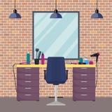 Arbetsplats för frisör s i salong för kvinnaskönhetfrisering Stol spegel, tabell, friseringhjälpmedel, kosmetiska produkter för h vektor illustrationer
