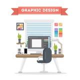 Arbetsplats för grafisk design royaltyfri illustrationer