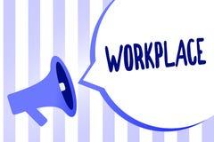 Arbetsplats för ordhandstiltext Affärsidé för område var du kan finna upptaget folk som gör deras högtalare för megafonen för job stock illustrationer