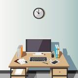 Arbetsplats hemma eller kontorsillustration inre modernt Plan design Royaltyfri Bild