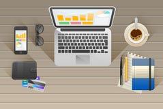 arbetsplats kontor Arbete i ett lag stock illustrationer