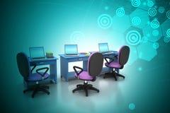 Arbetsplats med datoren Arkivbild
