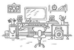 Arbetsplats med en datortabell royaltyfri illustrationer
