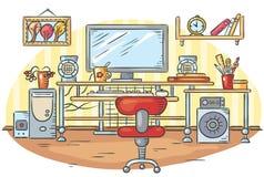 Arbetsplats med en datortabell stock illustrationer