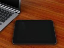 Arbetsplats med PC för digital minnestavla och bärbar dator Fotografering för Bildbyråer