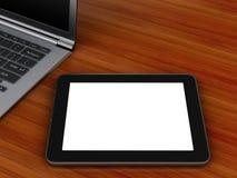 Arbetsplats med PC för digital minnestavla och bärbar dator Royaltyfri Foto