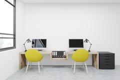 Arbetsplats två gula stolar, datorer stock illustrationer