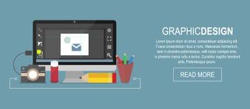 Arbetsplatsbaner för grafisk formgivare, plan illustration stock illustrationer