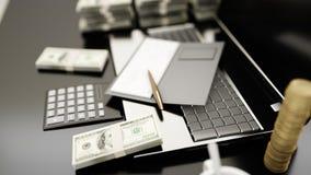 Arbetsplatsen av affärsfolk bärbar datorpengar äganderätt för home tangent för affärsidé som guld- ner skyen till framförande 3d Arkivbild