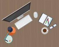 Arbetsplatsorganisation Datoren, exponeringsglas, dagboken och kaffe rånar royaltyfri illustrationer