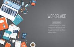 Arbetsplatsskrivbordsbakgrund Den bästa sikten av den svarta tabellen, bärbara datorn, mappen, dokument, notepad, bokar placera t stock illustrationer