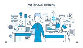 Arbetsplatsutbildning, teknologi, kommunikationer som lär direktanslutet, webinars, data, kunskap som undervisar royaltyfri illustrationer