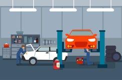 Arbetsprocess i bil- och gummihjulservice royaltyfri illustrationer