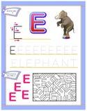 Arbetssedel för ungar med bokstav E för engelskt alfabet för studie Logikpussellek Framkallande barnexpertis för att skriva och a Vektor Illustrationer