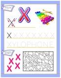 Arbetssedel för ungar med bokstav X för engelskt alfabet för studie Logikpussellek Framkallande barnexpertis för att skriva och a Vektor Illustrationer