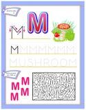 Arbetssedel för ungar med bokstav M för engelskt alfabet för studie Logikpussellek Framkallande barnexpertis för att skriva och a royaltyfria foton
