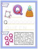 Arbetssedel för ungar med bokstav Q för engelskt alfabet för studie Logikpussellek Framkallande barnexpertis för att skriva och a Vektor Illustrationer