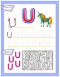 Arbetssedel för ungar med bokstav U för engelskt alfabet för studie Logikpussellek Framkallande barnexpertis för att skriva och a royaltyfri bild