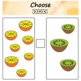 arbetssedel Leken för ungar - välj mer, mindre eller lika Lära matematik, nummer Uppgifter för förskole- barn royaltyfri illustrationer
