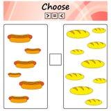arbetssedel Leken för ungar - välj mer, mindre eller lika Lära matematik, nummer Uppgifter för förskole- barn stock illustrationer