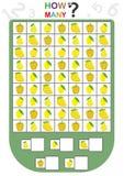 arbetssedeln för ungar, räknar numret av objekt, lär numren, hur många objekt, bildande barn spelar Royaltyfria Foton