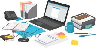 Arbetsskrivbord med bärbara datorn och skrivbordsarbeteanteckningsboken Fotografering för Bildbyråer
