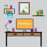 Arbetsställe av formgivare-illustratören Idérik kontorsworkspace Konst-arbete process Plan designillustration stock illustrationer