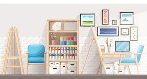Arbetsställe av formgivare-illustratören och konstnären med teckningsstaffli och många andra konstnärliga material Konst-arbete p vektor illustrationer