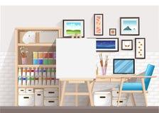 Arbetsställe av formgivare-illustratören och konstnären med teckningsstaffli och många andra konstnärliga material Konst-arbete p stock illustrationer
