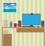 Arbetsstation för bruk med datoren stort Arkivbilder