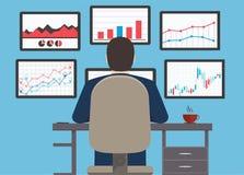 Arbetsstation, information och utvecklingswebsite s om rengöringsdukanalytics stock illustrationer