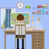 Arbetsstation lägenhetdesign Arkivbild