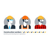 Arbetsstyrka för byggnadsarbetare för sikt för byggmästaremansida, leverantörockupationjobb Arkivfoton