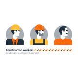Arbetsstyrka för byggnadsarbetare för sikt för byggmästaremansida, leverantörockupationjobb Royaltyfria Foton