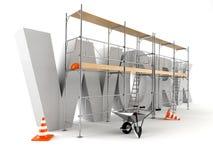 Arbetstext med materialet till byggnadsställning Arkivfoton