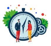 Arbetstid Två personer, klocka och kugghjul stock illustrationer