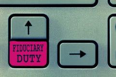 Arbetsuppgift för Fiduciary för textteckenvisning Begreppsmässigt lagligt åtagande för foto A att agera i största vikt av annan arkivfoton