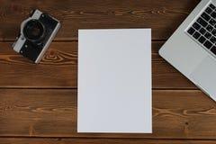 Arbetsutrymme för fotograf-, formgivare- eller hipsterstil Arkivfoto