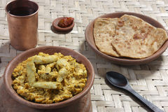 Arbi Ka Saag - A dish made from Colocasia. Arbi Ka Saag is prepared from Arbi (colocassia root) cooked with fresh Indian spices. Served with Roti and (Indian Royalty Free Stock Photo