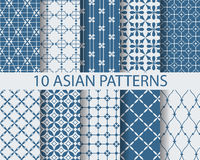 10 arbic patterns. 10 different chinese asian traditional seamless patterns, Swatches, vector, Endless texture can be used for wallpaper, pattern fills, web page stock illustration