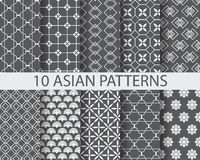 10 arbic patterns. 10 different chinese asian traditional seamless patterns, Swatches, vector, Endless texture can be used for wallpaper, pattern fills, web page royalty free illustration