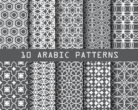 10 arbic patterns gray 20 Dec14. 10 different arabic patterns, Pattern Swatches, vector, Endless texture can be used for wallpaper, pattern fills, web page stock illustration